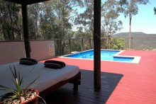View across to Pool from Day Bed.